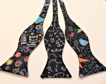 Math Bow Ties.  Sold Individually: Einstein Equations, Blackboard Formulas, Math Calculations. Physics, Math, Engineering, Geek, Nerd, Pi.