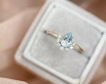 Pear Cut Aquamarine Diamond Engagement Ring, 14k Solid Gold Aquamarine Ring, March Birthstone Ring, Gemstone Diamond Engagement Ring