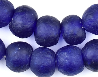 40 Recycled Glass Beads - Cobalt Blue African Beads - 18mm Round Beads - Fair Trade - Made in Africa (RCY-RND-BLU-519)