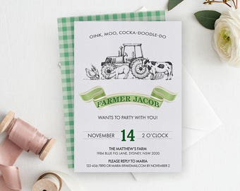 Vintage Tractor Invitation, Tractor Invitation, Tractor Birthday, Farm Birthday Invitation, Birthday Invitation, Tractor Invite, Printable