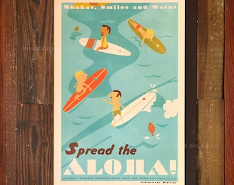 Spread the Aloha - 12 x 18 Retro Hawaii Travel Print