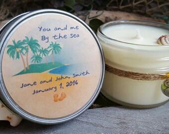 Set of 50 Wedding Favor Candles - Coastal Love Mini Candles - Beach Wedding - Coastal Wedding - Custom Wedding Candles - Wedding Favors