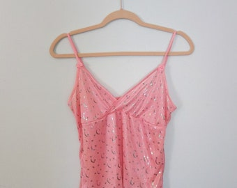 Kawaii Stars & Moon Babydoll Camisole // Cute Pink Frilly 90s Tank Medium