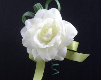 White Gardenia Corsage,Silk Flower for Wedding, Prom, Anniversary, Homecoming, original FFT design, made to order