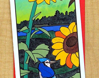 Sun Flower & Blue Jay Mosaic Greeting Card- Large Long Card- Any Occasion Card- Blank Card- Flower and Bird Card- Summer Sunset Garden Card