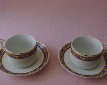 Lot of 2 cups of coffee with your meals. Floral decoration and beaten gold. Mark EPIAG Czechoslovakia. Vintage cups. Ancient porcelain cups