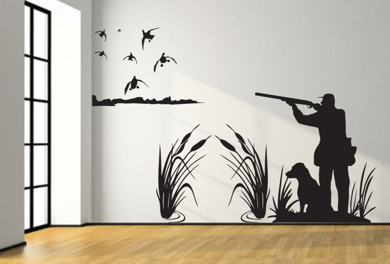 Mallard duck hunting wall decal 8ft large hunter and dog duck hunting boy girl nursery baby kids room decal bedroom living man cave