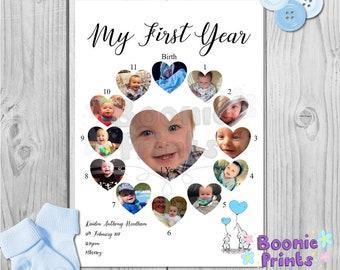 Mijn eerste jaar Print op A4 topkwaliteit videokaart / eerste verjaardag / kwekerij / Decor