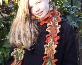 Autumn leaf scarf / winter scarf / women's scarf / teen scarf / accessory / gift for a teen / student gift