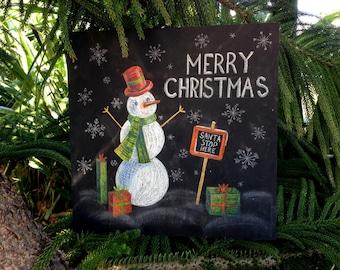 Snowman sign, Merry Christmas Sign, Christmas Snowman Door Hanger, Holiday Decoration, Christmas wood sign, Snowman decor