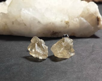 Golden Calcite Earrings / Yellow Calcite Crystal Earrings / Raw Golden Calcite Studs / Sunshine Yellow Raw Crystal Pierced Earrings