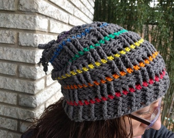Stormy Skies Cotton Gray Rainbow Crochet Vegan Slouch Hat Mens and Womens
