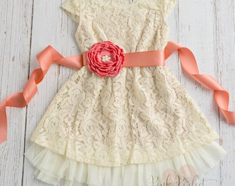Cream Girls dress, lace flower, Rustic flower girl dress, Country flower girl dress, Birthday dress, Coral flower girl dress,Baby Dress