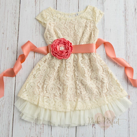 Cream Girls Dress Lace Flower Rustic Flower Girl Dress