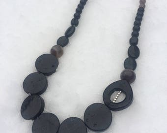 SALE Black Onyx, Agate, Smokey Quartz and Sterling Silver Necklace