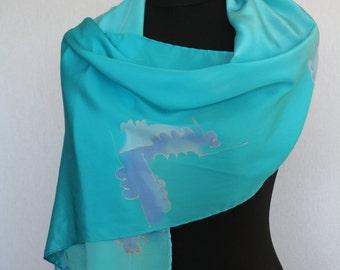 Silk scarf (crepe de Chine 10), 160 x 40 cm, handpainted, Turquoise (L-0003)