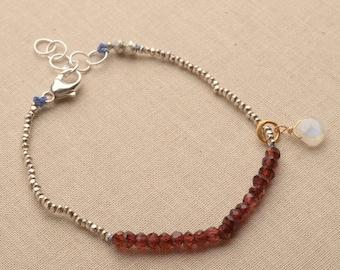 Chakra Bracelet, January Birthstone Bracelet, Healing Gemstone Jewelry, Hill Tribe Silver Beaded Bracelet, June Birthstone