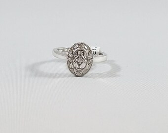 Sterling Silver .05 CT Filigree Diamond Ring