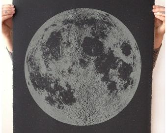 Glow in the Dark Moon Print, large moon print, moon art, lunar artwork, Handprinted Wall Art, Space Art, Home Decor, Nursery Decor, bohemian