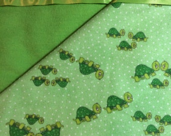 Flannel Green Turtle Baby Blanket