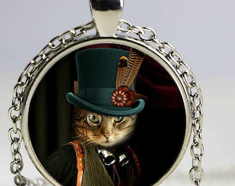 A beautiful necklace with a glass cabochon 25 mm cat STEAMPUNK