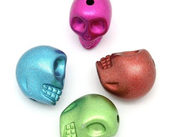 Metallic dark copper beads - skull / skull