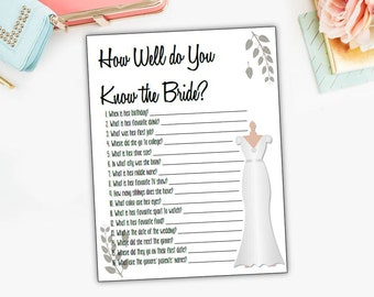 Bridal questionnaire etsy how well do you know the bride questionnaire quiz bridal shower game junglespirit Images