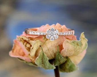 Diamond Cluster ring Flower Engagement Ring Rose Gold Unique Vintage Wedding Women Antique Half Eternity Bridal Set Anniversary Gift for her