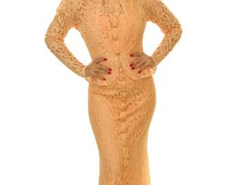 Vintage 1930s Dress /  30s Dress / Vintage 1930s Lace Gown