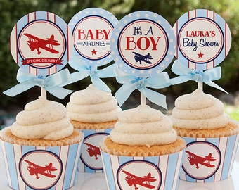 Airplane Baby Shower Decorations - Airplane Cupcake Toppers - Boy Baby Shower - DIY Printable - PERSONALIZED