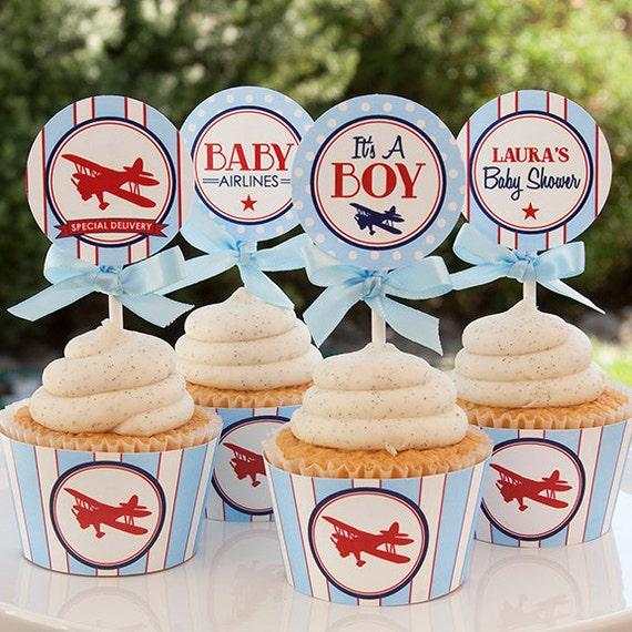 Airplane Baby Shower Decorations Airplane Cupcake Toppers