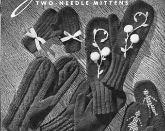 Jack Frost Two Needle Mittens (22) Knitting Patterns E Book Knitting Pattern 736001