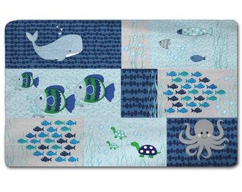 Custom Nursery Sea Theme Plush Fuzzy Rug -Shown Grey and Blue Combination - Size 96x60
