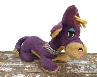Antique Gund Stuffed Animal Purple Cow with Necklace