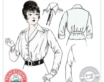 E-Pattern-  Elsie- 1910s WWI Era Blouse - Wearing History PDF Vintage Historical Costume Sewing Pattern