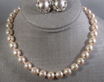 Vintage Miriam Haskell classic 1940s faux pearl signed necklace & earrings set