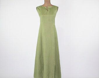Green Linen Dress Sleeveless Summer Dress Women Maxi Dress Casual Long Dress Medium Dress Large Womens Clothing