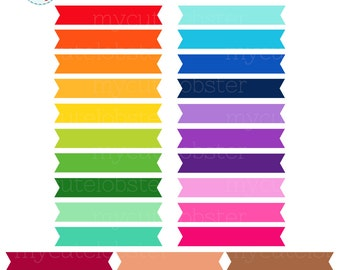 Rainbow Ribbons Clipart Set - clip art set of rainbow ribbons, flags, plain ribbons - personal use, small commercial use, instant download