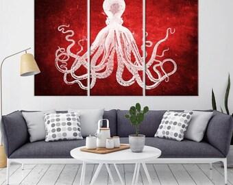 Oktopus-Wand-Kunst, Oktopus-Leinwand, Octopus Posterdruck, Wand Kunst Oktopus, Tintenfisch-Wand-Dekor