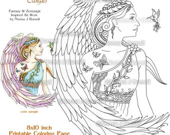 Fairy Tangles Printable Coloring Pages and Sheets by Norma Burnell - Angels to Color Adult coloring for Grownups Digital Coloring Files