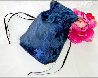 Civil War Victorian Blue Brocade Rose RETICULE PURSE New Gorgeous