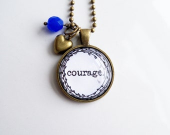 Courage Necklace - One Little Word - Inspirational Pendant - Word Jewelry - Custom Text Jewelry - You Choose Bead and Charm - Wreath Graphic