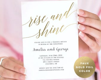 Wedding Brunch or Wedding Breakfast Invitation Template - Rise and Shine Wedding Brunch - Modern Script - Instant Download PDF Template #MSC