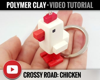 Polymer Clay Tutorial Vol.10: DIY How to make «Chicken Crossy Road» Detailed Video Master Class, DIY Craft Idea, Instant Access