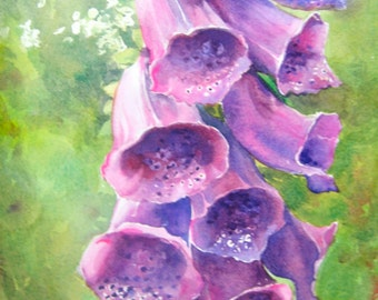 Violet Foxgloves Original Watercolor Summer Garden Red-Violet Flowers Yellow-green Leaves Small Format Art SFA Colorful Transparent Painting