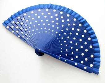 Hand Fans, hand fan, Abanico, fan in blue with white dots