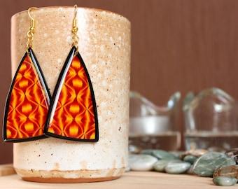 Geometric pattern earrings Orange dangle earrings Orange drop earrings Modern dangle earrings Polymer clay jewelry Geometric dangle earrings