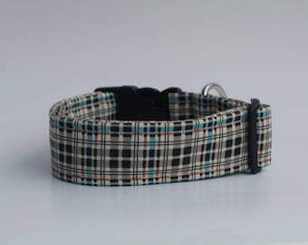 "Winter Walk Flannel Plaid ""Stream"" Dog Collar"