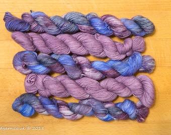 Nebula & Purple Haze Mini Skein Set Hand Dyed Merino Sock Yarn