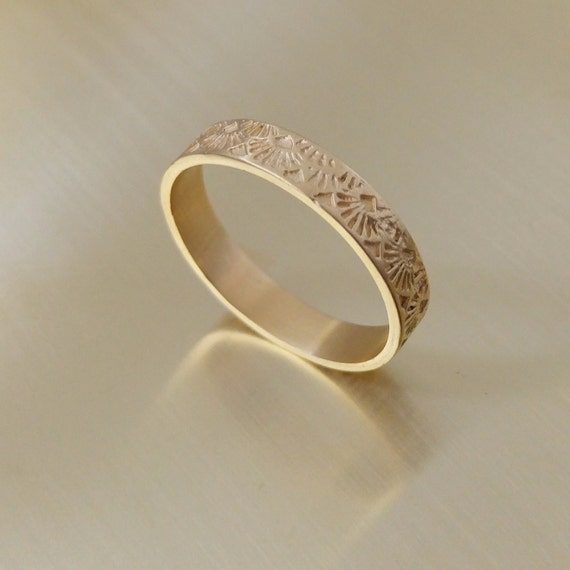 Art deco ring Womens wedding band Gold art deco style
